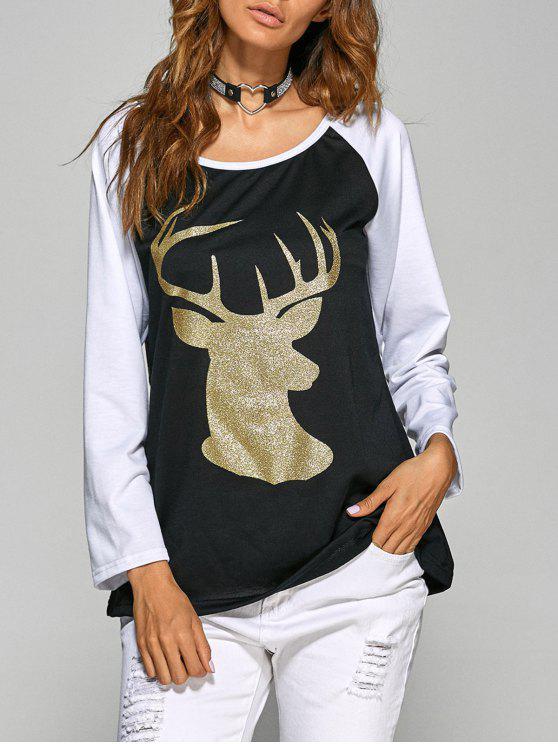 Raglan Sleeve Christmas Deer Spliced Tee - Negro M