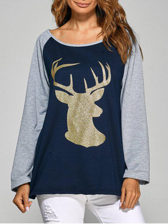 Raglan Sleeve Christmas Deer Spliced Tee - Azul Marino  L