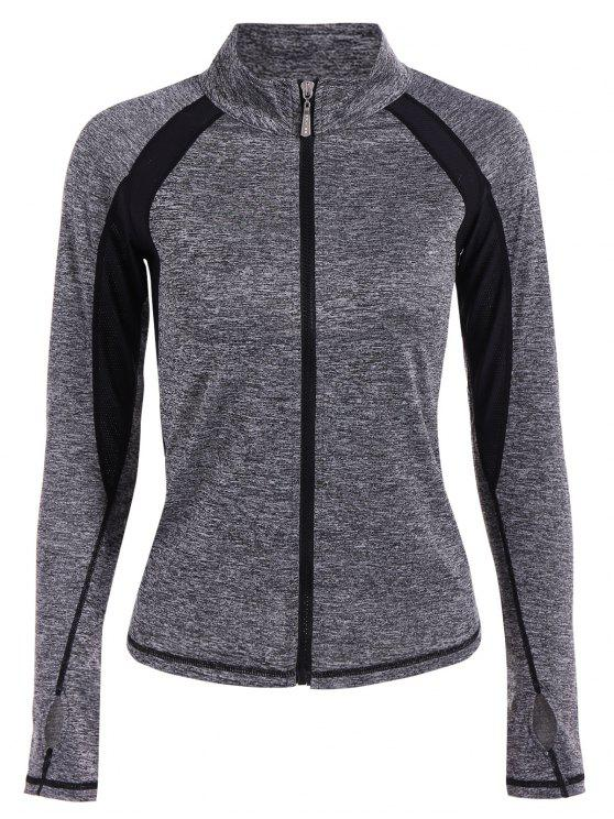 sale Breathable Heather Sporty Zip Up Jacket - GRAY XL