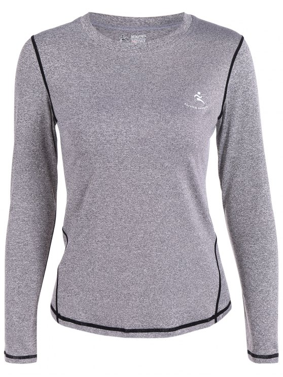 shops Long Sleeves Fit Gym T-Shirt - GRAY S