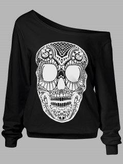Oblique Shoulder Skulls Print Sweatshirt - Black M