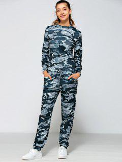 Drawstring Waist Camo Printed Sports Suit - Marine Camouflage M