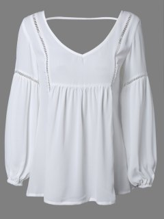 Openwork Backless Chiffon Blouse - White Xl