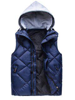 Zipper Padded Hooded Vest - Deep Blue M