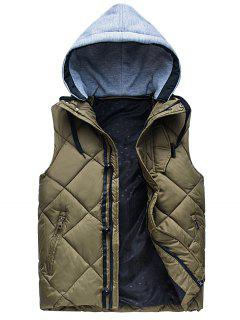 Zipper Padded Hooded Vest - Army Green 2xl