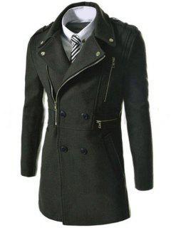 Asymetrical Zipper Lapel Wool Blend Coat - Army Green Xl