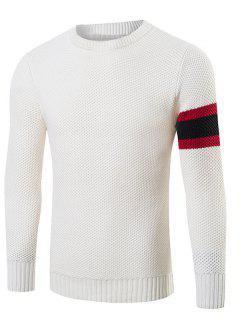 Stripes Pattern Knitting Crew Neck Sweater - White M