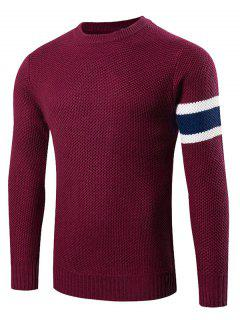 Stripes Pattern Knitting Crew Neck Sweater - Wine Red L