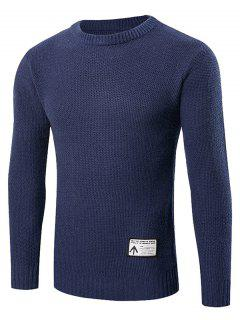 Ribbed Trim Patched Crew Neck Knit Sweater - Cadetblue M
