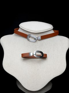 Geometric Alloy Choker Set - Coper Brown