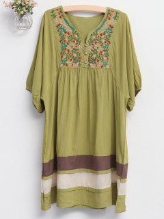 Embroidered Bib Tunic Dress - Green