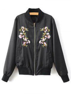 Floral Embroidered Pilot Jacket - Black L