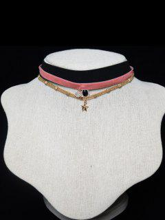 Triple Layered Velvet Star Chokers - Shallow Pink