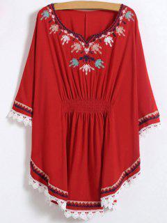 Chemise à Style Kaftan Brodée En Dentelle  - Rouge