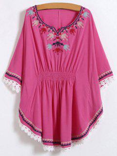 Chemise à Style Kaftan Brodée En Dentelle  - Rose