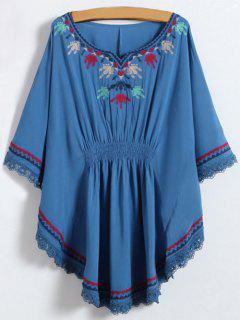 Embroidered Kaftan Top - Denim Blue