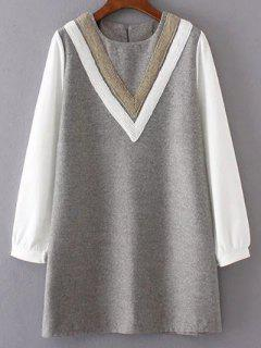 V Pattern Wool Spliced Shift Dress - Gray L