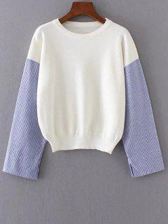 Tricot A Col Rond Avec Manches A Rayures  - Blanc