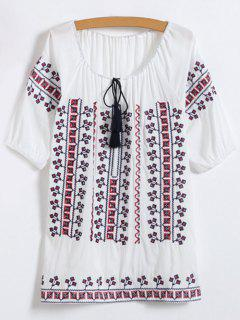 Embroidered Elbow Sleeve Top - White