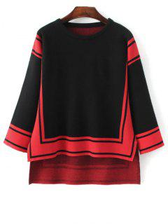 High Low Geometric Pattern Sweater - Black