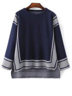 High Low Geometrisches Muster Sweater - Schwarzblau
