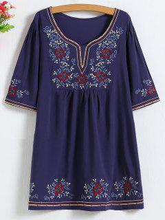 Embroidered Mini Tunic Dress - Purplish Blue