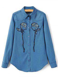 Longue Chemise En Jean Avec Rose Brodée  - Bleu Xs