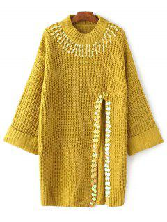 Sequins High Slit Beaded Sweater Dress - Yellow