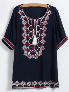 Scoop Neck Embroidered Mini Dress - Purplish Blue