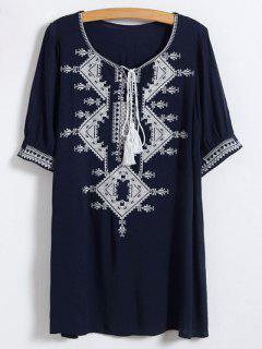 Robe Tunique Brodé à Encolure Dégagée - Bleu Violet