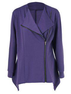 Plus Size Asymmetric Side Zipper Jacket - Purple 5xl