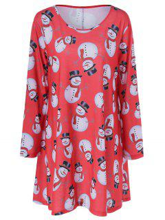 Christmas Snowman Pattern Plus Size Dress - Black And White And Red Xl