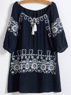 Robe De Coton Brodée à Col Rond - Bleu Violet