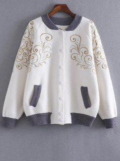 Embroidered Stand Neck Cardigan - White