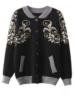 Embroidered Stand Neck Cardigan - Black