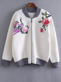 Front Zipper Floral Embroidered Cardigan - White