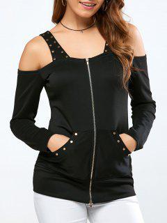 Embellished Cold Shoulder Fitted Jacket - Black Xl
