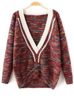 Plunging Neck Space Dyed Sweater - Dark Red