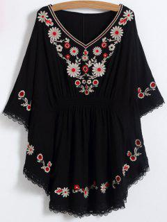 Floral Embroidered Kaftan Top - Black