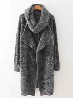 Long Cardigan With Non-Detachable Scarf - Gray
