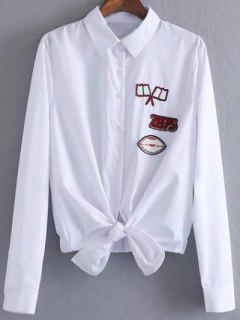 Blouse Patch Avec Nœud De Cravate Avant  - Blanc S
