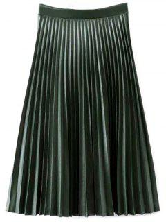 PU Leather Accordion Pleat Skirt - Blackish Green L