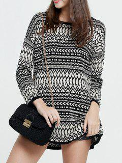 Zig Zag Knit Long Sweater - White And Black