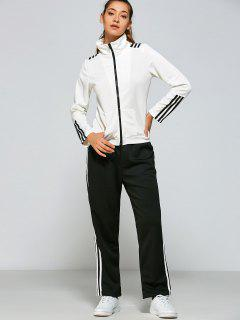 Striped Pockets Gym Outfits - White And Black S