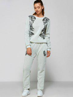 Wings Printed Sweatsuit - Light Gray S