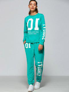 Funny Sweatshirt With Drawstring Jogger Pants - Lake Green M