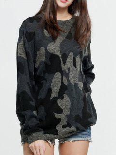 Chandail De Camouflage Surdimensionné Cou Rond