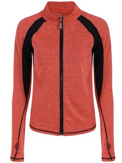 Breathable Heather Sporty Zip Up Jacket - Jacinth S