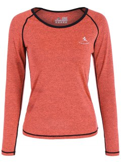 Heather Quick Dry Pullover Gym Tee - Orange Red S