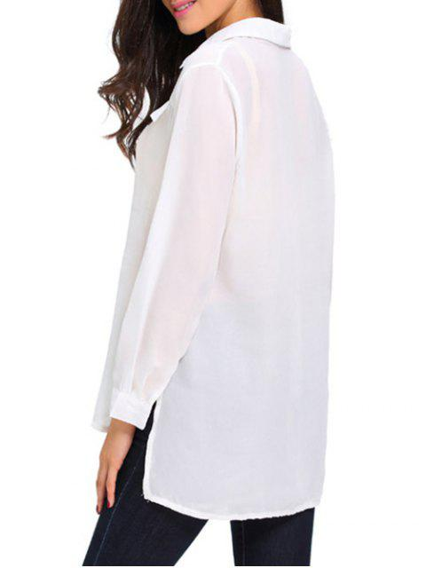 buy Lace Up High Low See Through Shirt - WHITE M Mobile